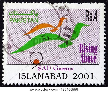 PAKISTAN - CIRCA 2001: a stamp printed in Pakistan dedicated to 9th SAF Games Islamabad circa 2001