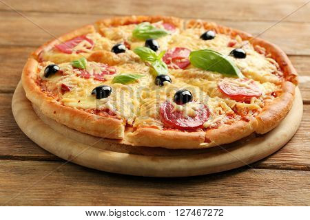 Fresh baked pizza, close up