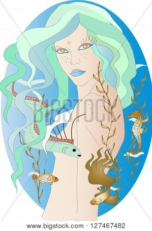 beautiful mermaid with blue hair and golden eyes