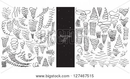 Set of 70 loop flourishes made with hand nib and ink freehand ornated in different directions. Vector black and white illustration good for creative designs drawn with imperfections.