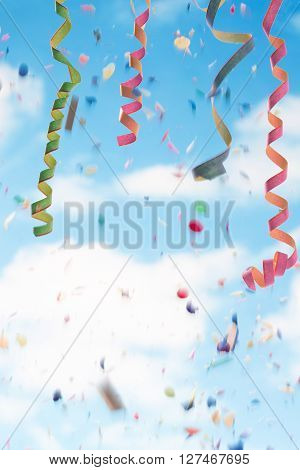 Streamers and confettion white and blue  background