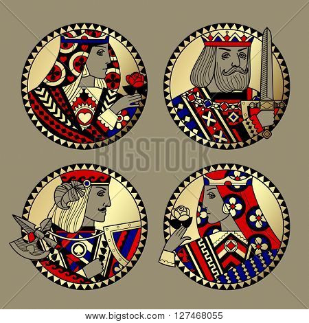 Round shapes with faces of playing cards characters. Original vintage design in gold, red, blue and black colors. Contain the Clipping Path