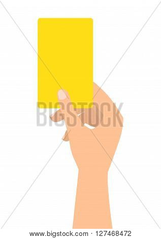 Football soccer referee hand with yellow card on white background.