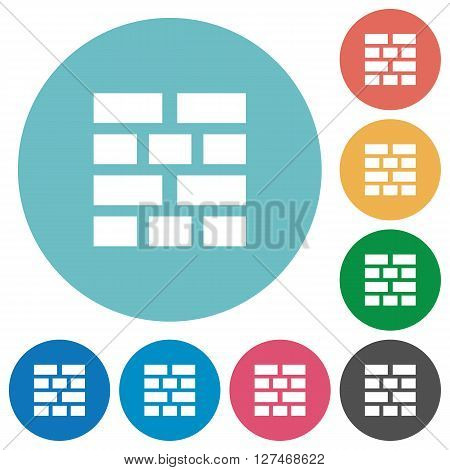Flat brick wall icon set on round color background.