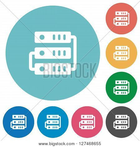 Flat servers icon set on round color background.