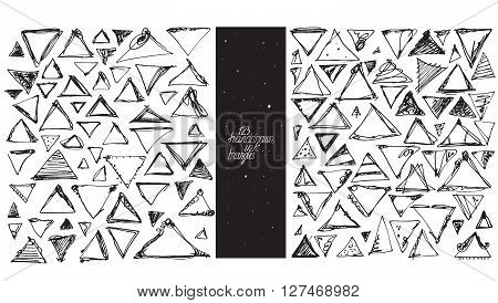 Set of 123 triangles made with hand and ink freehand with lots of splashes and blob brush smears. Vector black and white illustration good for creative designs drawn with imperfections.