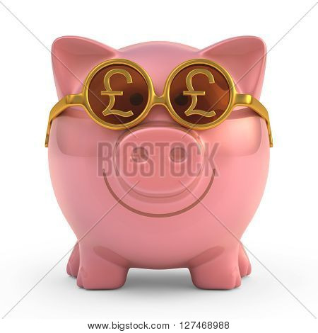 3D Piggy bank wearing sunglasses with money sign. Clipping path included.