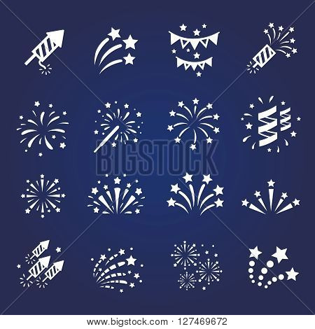Firework white icon set with  burst petard, stars.  celebration and party vector