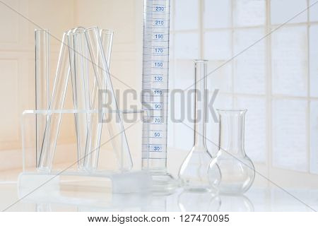 Laboratory glassware Test-tubes  and several glass object