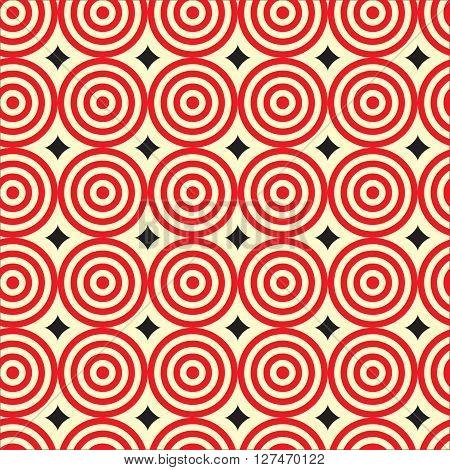 Red ripple circle with black diamond shape Seamless Pattern