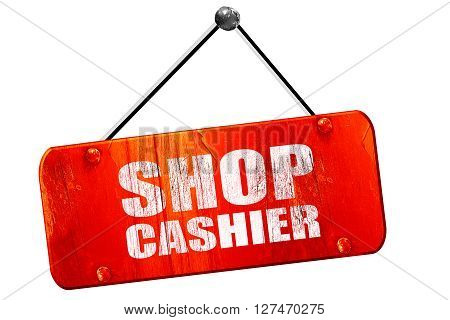 shop cashier, 3D rendering, red grunge vintage sign