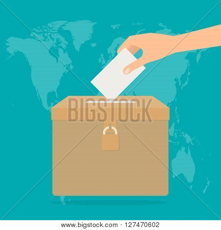 Human hand putting voting paper in the ballot box on world map background. Vector illustration flat design election concept.