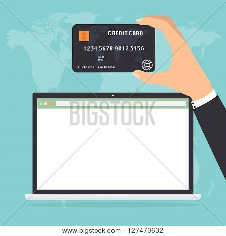 Businessman hand holding credit card for paying in laptop notebook PC on world map background. Flat design E-Commerce omnichannel online shopping concept.