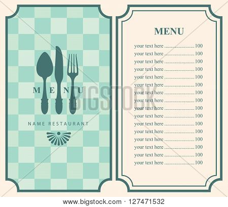 menu template with cutlery fork spoon and knife