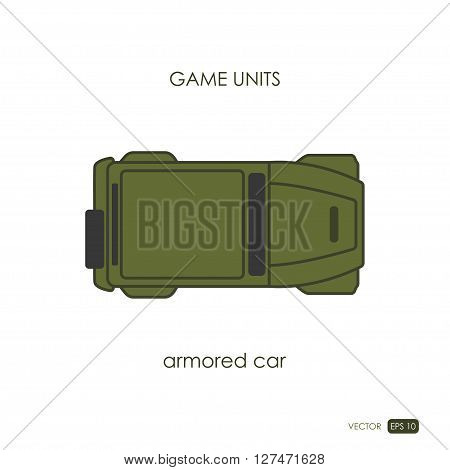Armored car on white background. Military icon. Game unit. Vector illustration