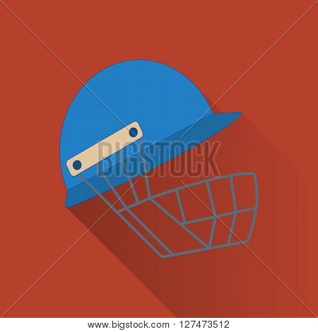 Cricket helmet flat icon. Colored flat image with long shadow on yellow background. Cricket game equipment flat icons composition. Professional sport theme. Unique modern style. Vector concept.