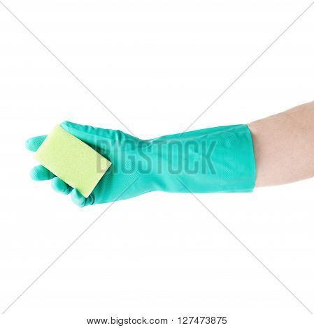 Hand in rubber latex green glove holding kitchen green sponge over white isolated background