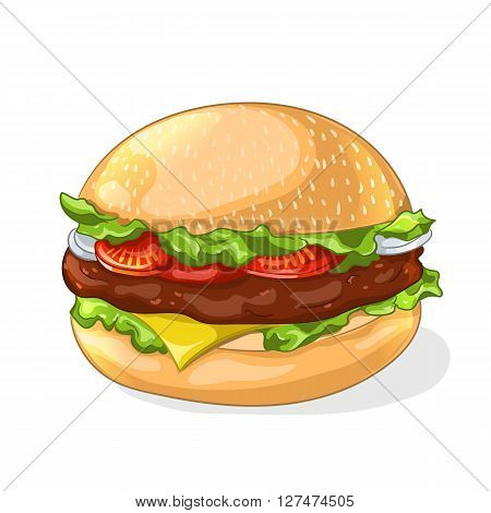 Hamburger icon. Cartoon fast food. Vector illustration