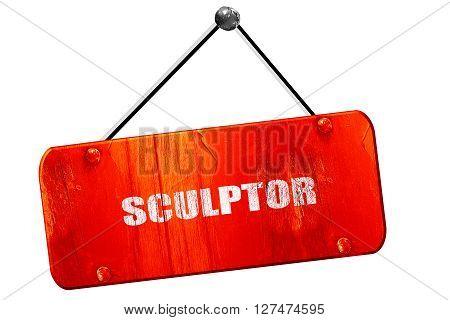 sculptor, 3D rendering, red grunge vintage sign