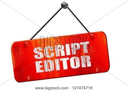 script editor, 3D rendering, red grunge vintage sign