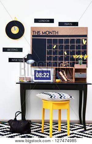 Stylish dark color workplace