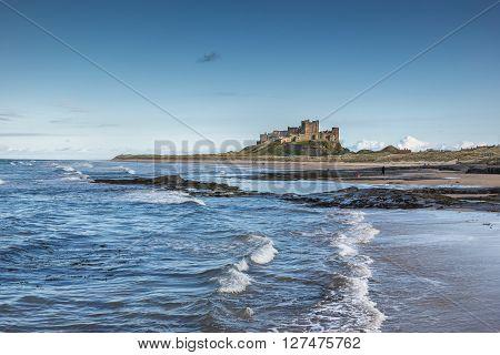 Bamburgh Castle on the Northumberland coast in England