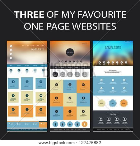 Set of One Page Website Design Templates for Your Business with Abstract Blurred Header Design Concept