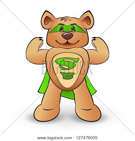 Super bear dressed in a green cloak with the letters S and B standing on white background