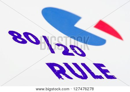 80-20 rule stamped with colorful pie which represents pareto principle.