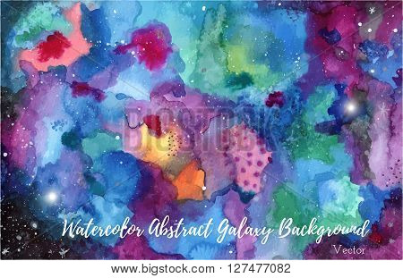 Hand painted watercolor abstract Universe or night sky with stars background. Bright colorful galaxy painting with stardust and shining stars. Vector illustration.