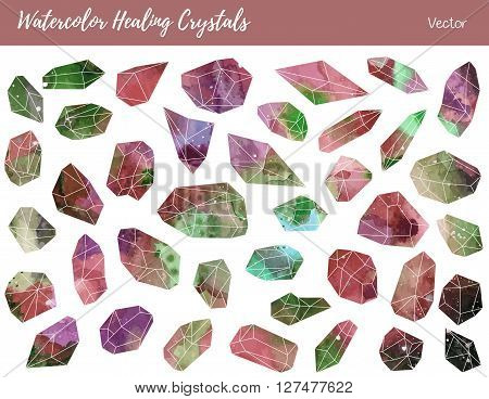 Collection of of colorful healing crystals isolated on a white background. Watercolor hand painted green grey brown minerals gemstones. Vector graphic design elements.