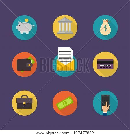 Banking Concept. Set Of Flat Icon Banking, Finance Operations, Payment,  Credit Cards, Wallet And Ca