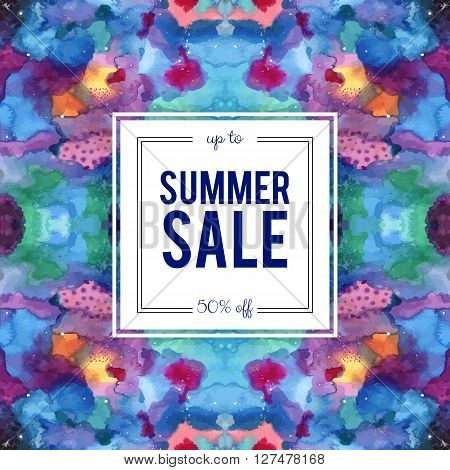 Summer sale sign on abstract cosmic kaleidoscope watercolor background. Seamless Galaxy pattern in the swatches panel. Indigo pink purple violet yellow blue vector template