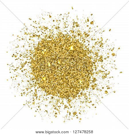 Round Golden Abstract  Glitter  Object, Background Or Banner With Splash. Shine  Isolated Design Ele