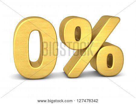 0 percent symbol 3d gold  in shiny metallic look