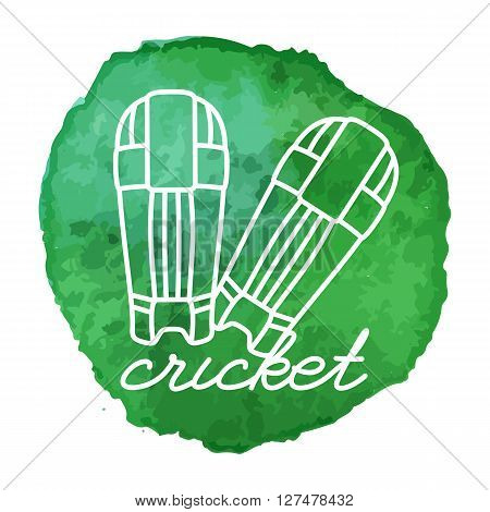 Cricket gloves white line icon on abstract watercolor green blot paint circle. Cricket game equipment composition. Professional sport theme. Vector concept.