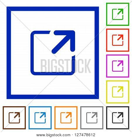Set of color square framed Maximize window flat icons on white background