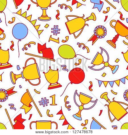 Vector doodle winner seamless pattern. Hand drawn colorful objects of success. Trophy cup flag ballons ribbon flag confetti. Great for kids design