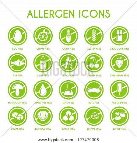 set of allergen icons vector  illustration free