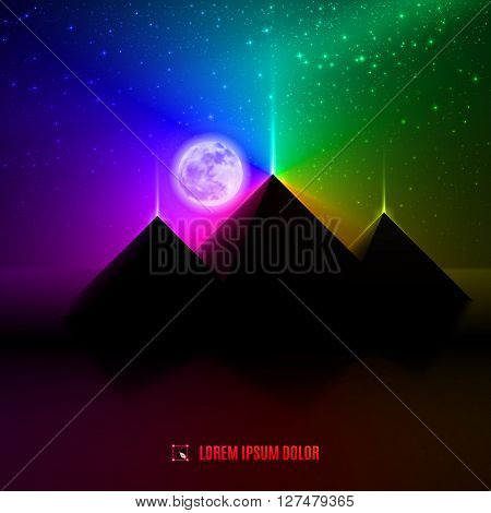 blue red and green night summer egypt desert landscape background illustration with moon pyramids and stars