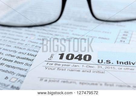 1040 Income Tax Form, close up