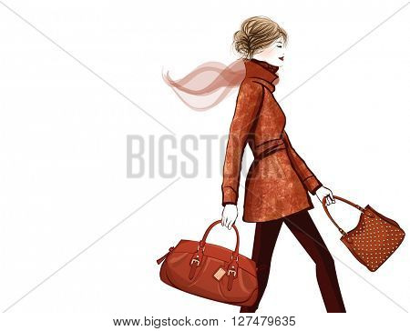 Woman traveling with bag - vector illustration