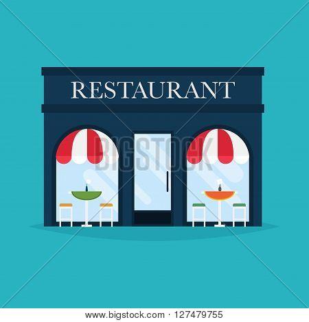 Vector Illustration Of Restaurant Building. Facade Icons. Ideal For Restaurant Business Web Publicat