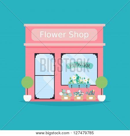 Flower Shop Facade. Vector Illustration Of Flower Shop Building. Ideal For Flower Shop Business Web