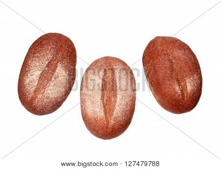 Three rye breads isolated on white background
