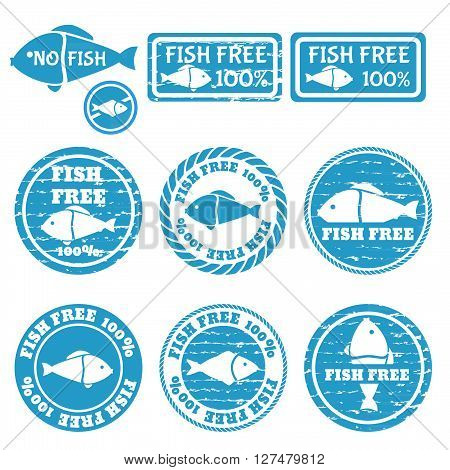 Set of grunge stamps with allergen icons. Fish free icons . Vector illustration