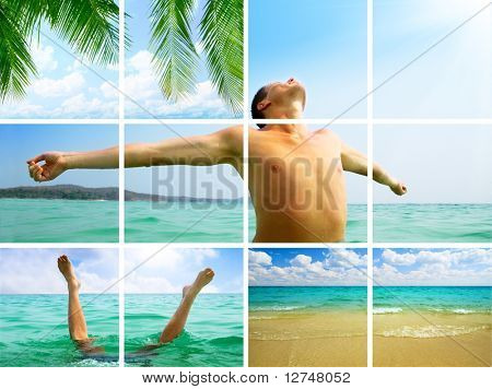 collage summer of photos happy man and ocean