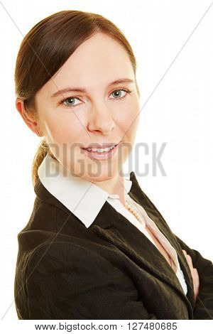 Smiling attractive business woman looking into the camera