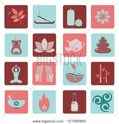 Set ayurveda icons. Vector illustration. Ayurveda logos isolated. Design elements for ayurveda center yoga studio spa center. Ayurveda sticker. Beauty icons set