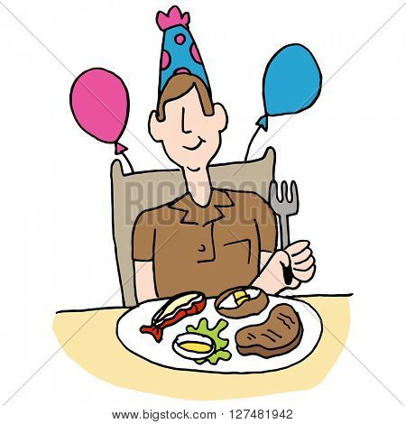 An image of a man having a steak and lobster meal for his birthday.